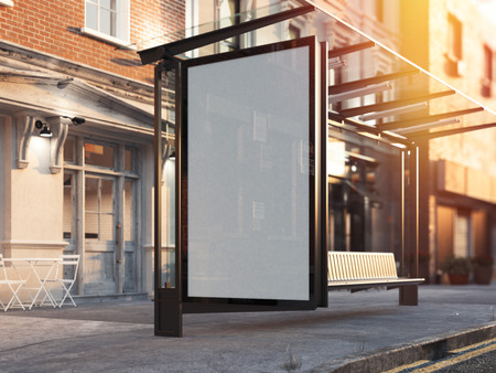 Bus station with blank banner on a street. 3d rendering Фото со стока - 82324072