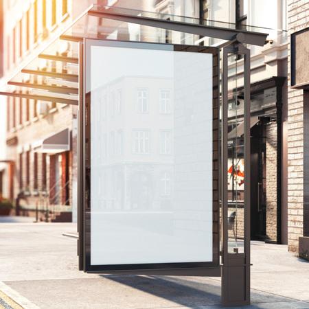 Busstation met lege banner. Heldere dag. 3D-rendering Stockfoto