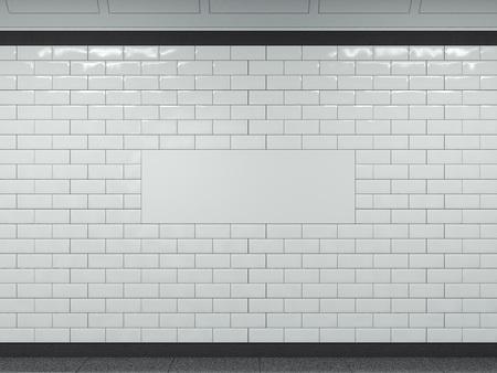 지하철에서 넓은 흰색 배너. 3 차원 렌더링