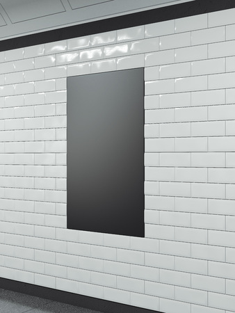 Vertical black banner on tiled wall. 3d rendering