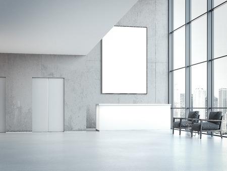 Moderne kantoorzaal met receptie en lege banner op de muur. 3D-rendering