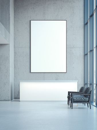 Kantoorzaal met lege banner op de muur. 3D-rendering Stockfoto