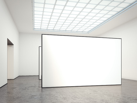 ceiling: Museum gallery with blank walls. 3d rendering