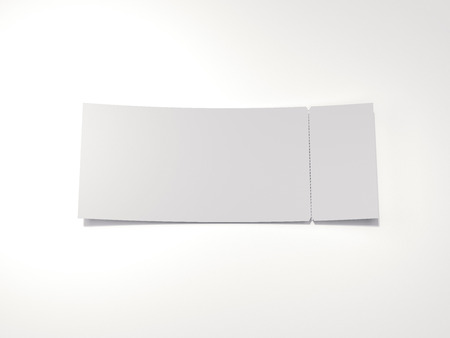 Blank tear-off ticket. 3d rendering 版權商用圖片
