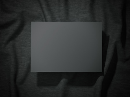 Blank black banner on a cloth. 3d rendering Stock Photo