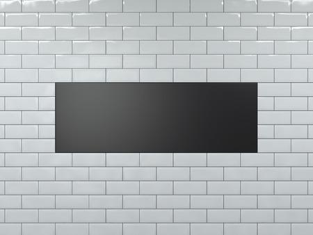 Blank black wide banner. 3d rendering Фото со стока