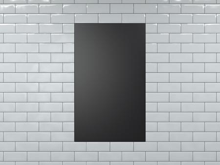 Blank black vertical banner. 3d rendering