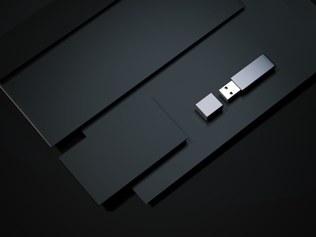 paper sheet: Blank black business mockup with usb drive. 3d rendering Stock Photo