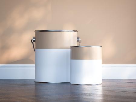 Zwei Lackdosen gegen die beige Wand. 3D-Rendering Standard-Bild - 82324604