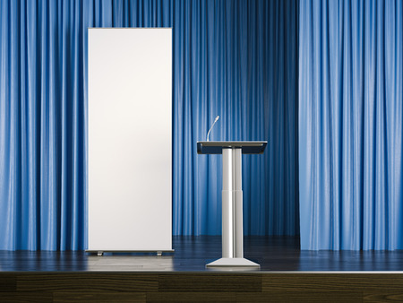 Tribune and white rollup banner on stage. 3d rendering Stock Photo