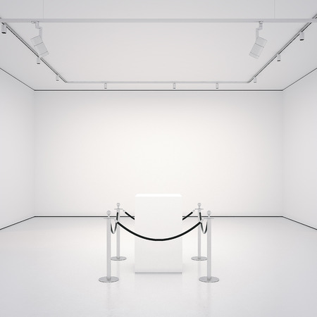 White gallery with empty showcase. 3d rendering