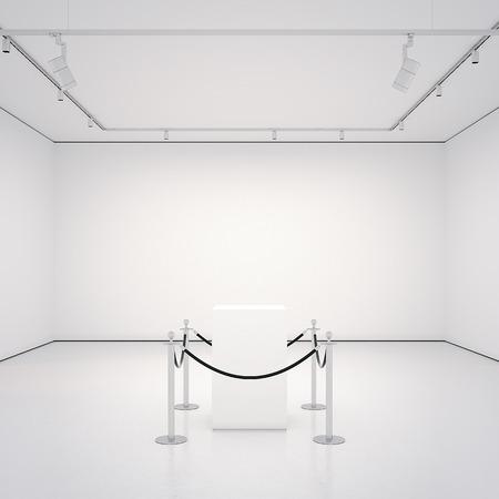 Witte galerij met lege etalage. 3D-rendering