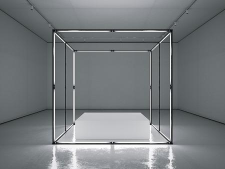 Dark gallery with empty modern showcase. 3d rendering Фото со стока