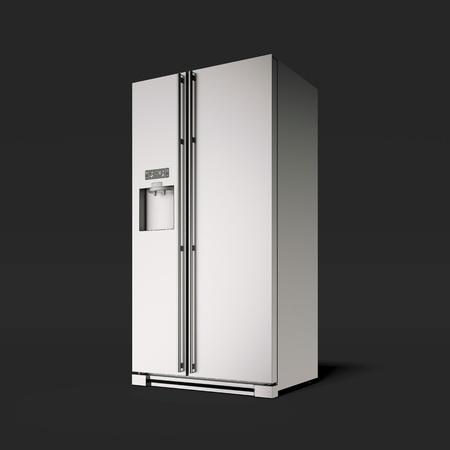 검은 스튜디오에서 실버 냉장고입니다. 3 차원 렌더링