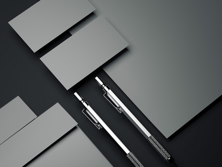 Gray branding mockup with silver pens. 3d rendering