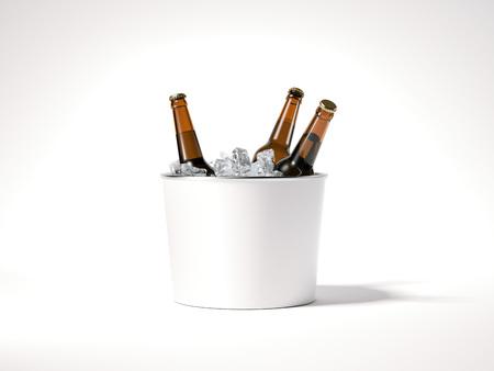 ビール瓶と空の氷のバケツ。3 d レンダリング