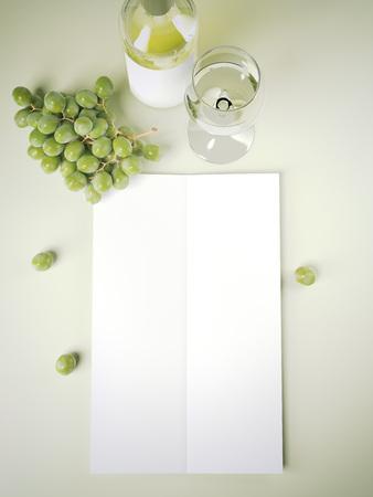 Wijnmenu op groene lijst. 3D-rendering