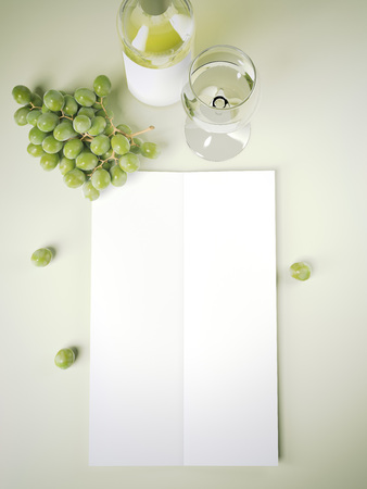 Wine menu on green table. 3d rendering Stock Photo