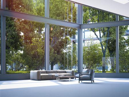 Modern office waiting area. 3d rendering Standard-Bild