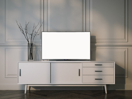 White tv stand with flat LCD television. 3d rendering Archivio Fotografico