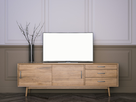 Wooden tv stand with flat LCD television. 3d rendering