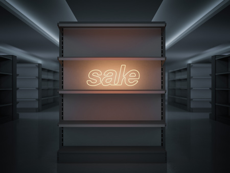 Shelves in a store with glowing sale sign. 3d rendering