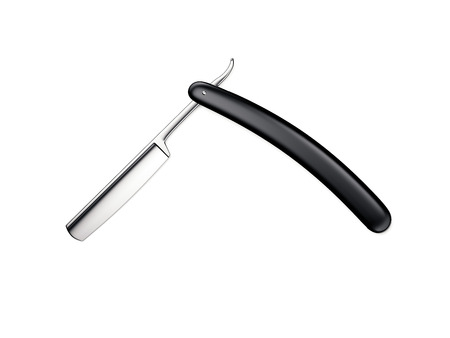 Black sharp straight razor. 3d rendering
