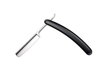 Black sharp straight razor. 3d rendering