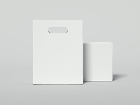 White shopping bag with blank luxury package. 3d rendering