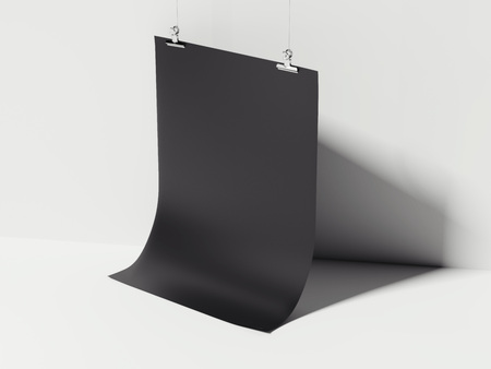 Black bent sheet hanging. 3d rendering