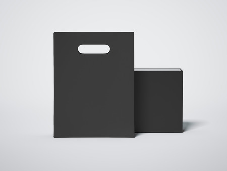 holiday shopping: Black shopping bag with blank luxury package. 3d rendering Stock Photo