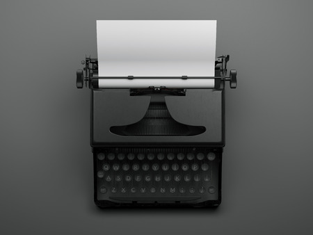 Black stylish typewriter. 3d rendering