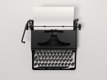 Black stylish typewriter with blank paper sheet. 3d rendering