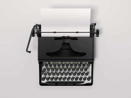 Black stylish typewriter with blank paper sheet. 3d rendering