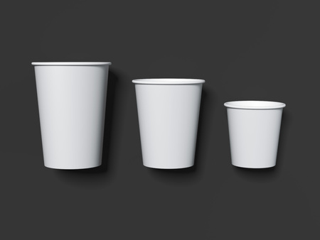 Three white paper cups on dark background. 3d rendering Фото со стока