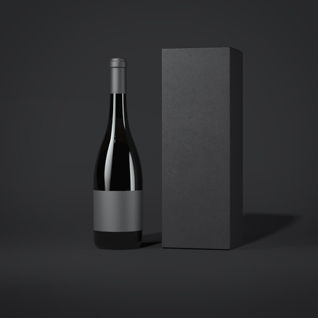 Bottle of wine with black luxury package. 3d rendering Stock Photo