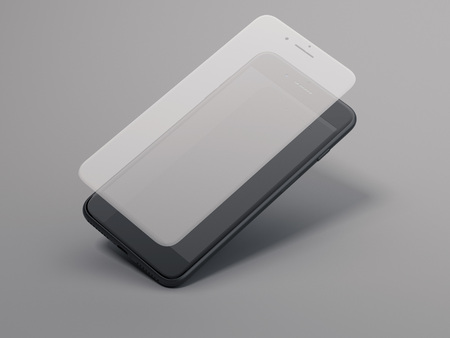 Smartphone with screen protect glass. 3d rendering
