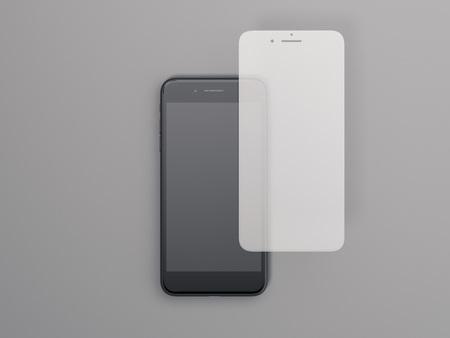 画面保護ガラスと現代のスマートフォン。3d レンダリング