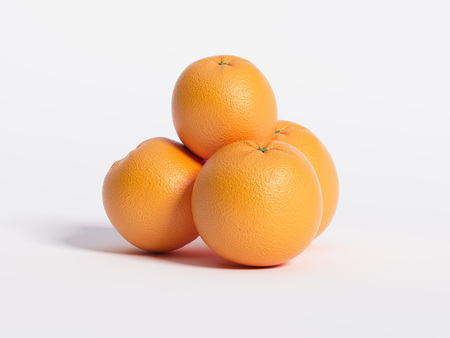 A few oranges. 3d rendering