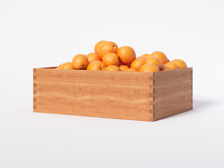 Wooden box with fresh oranges. 3d rendering