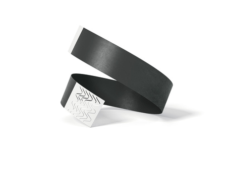 Blank black paper wirstband. 3d rendering