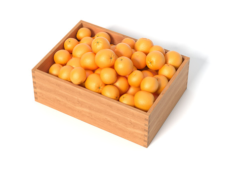 Box with fresh oranges. 3d rendering