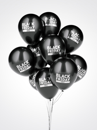 A few balloons with black friday sale sign. 3d rendering Imagens - 86167116