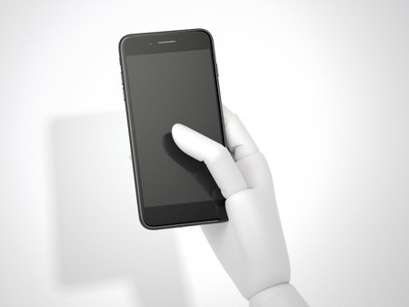 android tablet: Robot hand holds a black smartphone. 3d rendering Stock Photo