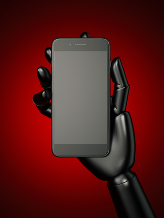 mobile communication: Black robot hand and smartphone. 3d rendering