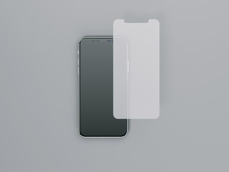 Protective film for smartphone. 3d rendering
