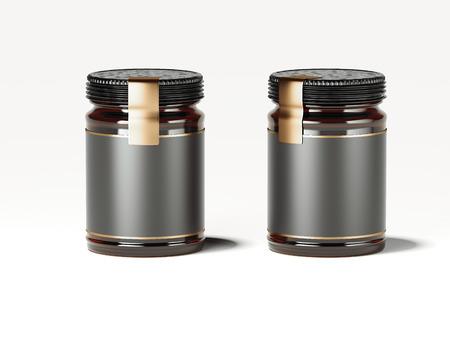 Twee donkere potten met gouden labels. 3D-rendering Stockfoto