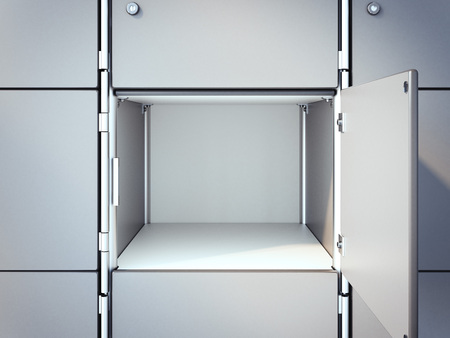 Opened empty safe box. 3d rendering