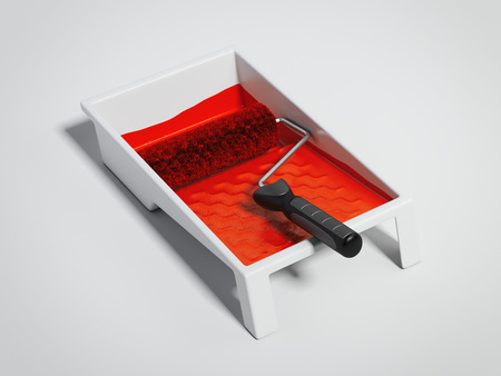 Paint tray and red roller. 3d rendering Reklamní fotografie