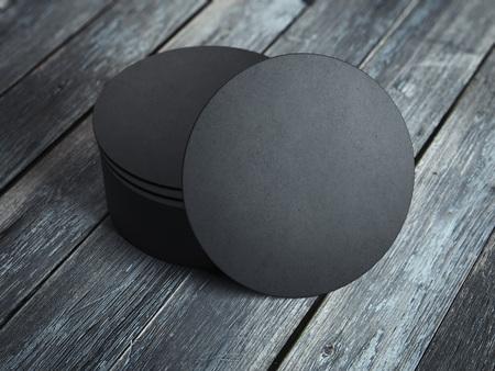 Zwarte onderzetters. 3D-rendering Stockfoto - 88035340